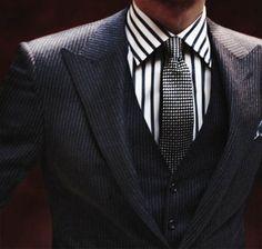 Pinstripe waistcoat and jacket.