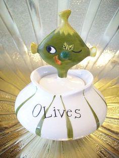 Vintage Holt Howard Pixie Elf Olive w Fork Pixieware Jar Figurine