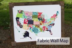 BeingBrook: Fabric Wall Map -- fabulous tutorial on how to make this wall map from fabric scraps! She even tells you how to age the wood frame.  She uses white fabric, iron adhesive, fabric scraps, a travel/road map to cut out the state shapes, a piece of plywood, Mod Podge to glue white fabric to plywood, then some wood for the frame, which she ages and glues on top. So customizable, too!