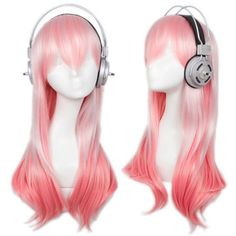 Cfalaicos Super Sonico Pink Cosplay Wig (No Headphone) ❤ liked on Polyvore featuring beauty products