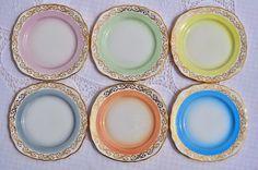 Harlequin Pastel Colours Tea Plates