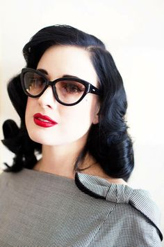"""""""Powder, red lipstick, and sunglasses. Everyone always thinks I'm so done up, but it's just the lipstick!"""""""