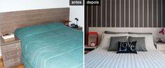 Adesivo laminado repagina cabeceira e armário de quarto de casal - Casa
