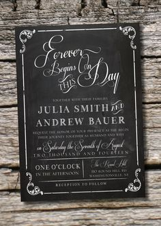 Vintage Blackboard Chalkboard Wedding Invitation and Response Card Chalkboard Wedding Invitations, Vintage Wedding Invitations, Wedding Stationary, Wedding Invitation Cards, Wedding Cards, Diy Wedding, Wedding Table, Wedding Stuff, Chalkboard Poster
