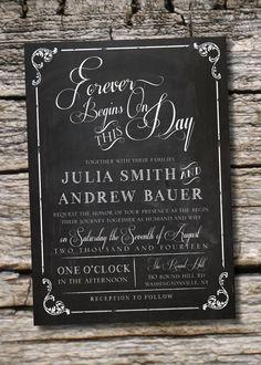VINTAGE BLACKBOARD Chalkboard Poster Wedding Invitation/Response Card - 100 Professionally Printed Invitations & Response Cards