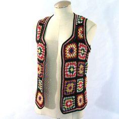 vintage Granny Square Vest / Crochet Vest / by AliyaAndLucas