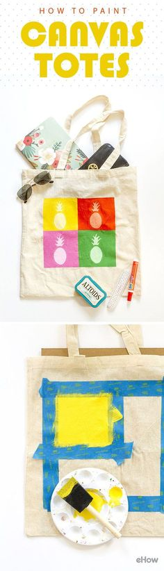 Love this easy way to add your own style to a blank canvas tote! Perfect for your every day shopping, school books or just beach bag! Learn how to paint your own canvas tote here: http://www.ehow.com/how_4678211_paint-canvas-totes.html?utm_source=pinterest.com&utm_medium=referral&utm_content=freestyle&utm_campaign=fanpage