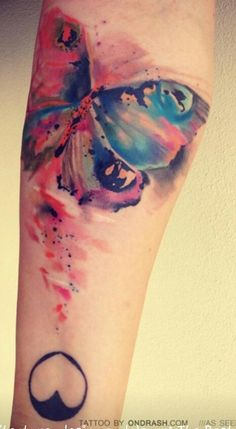 Water color tattoo: Idea for new tatt. I want this blending, but with my secret design.. not w/butterflies.