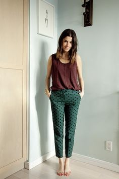 Intensely patterned pants in non neutrals.  Warming up to the idea. (Leandra Medine)