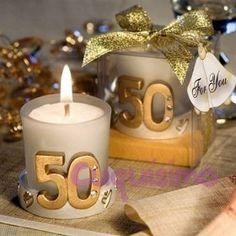 1.86€ Vela Boda 50 aniversario presentada en cajita transparente con lazo y tarjeta de regalo
