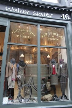 Another amazing neighbour to Skye Candles Edinburgh. Walker Slater, Scottish Tweed and tailoring specialists on Victoria Street. Boutiques, Walker Slater, Decoration Vitrine, Tweed Run, England, Shop Fronts, Shop Around, Harris Tweed, Scotland Travel