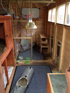 Skur omdannet til kaninbo. Der er mulighed for at kaninerne kan løbe ud i en løbegård gennem lemmene i væggen.