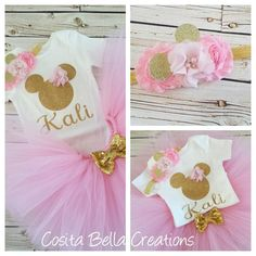 Minnie Mouse pink and gold tutu outfitTutu birthday