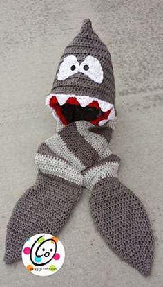 Crochet Hoods Ravelry: Shaaark Hooded Scarf pattern by Heidi Yates - Crochet Kids Scarf, Crochet Hooded Scarf, Crochet For Boys, Crochet Scarves, Crochet Hats, Boy Crochet, Hooded Cowl, Hooded Scarf Pattern, Easy Crochet Projects