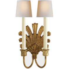 Chart House from Visual Comfort designed by Sandy Chapman Marlborough Double Sconce in Gilded Iron CHD1126GI