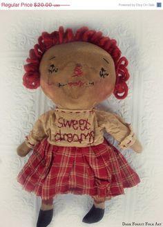 ON SALE Primitive Raggedy Ann Doll Sweet by DarkForestFolkarts