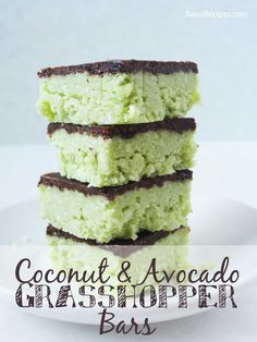 Coconut & Avocado Grasshopper Bars | grain-free, dairy-free, refined sugar-free | www.RaiasRecipes.com