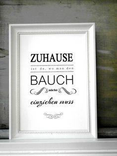 """Typodruck """"BAUCH EINZIEHEN"""" // artprint by SCHILDERMANUFAKTUR --- homestyle-accessoires --- via DaWanda.com"""