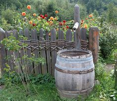 Catch it, if you can. Rain water, a free garden commodity. Garden Fencing, Garden Art, Garden Landscaping, Garden Design, Rustic Gardens, Farm Gardens, Outdoor Gardens, Summer Garden, Water Garden