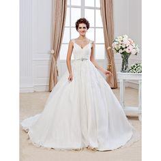 Ball Gown V-neck Chapel Train Organza Wedding Dress