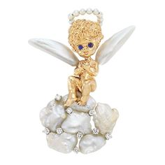 Ruser 14k Gold, Platinum, Diamond, Freshwater Cultured Pearl And Sapphire Angel Brooch