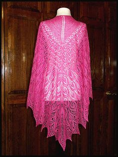 """""""Regrowth"""" heart-shaped shawl knit in Magenta lace weight yarn (50% Silk, 50% Merino), 61"""" x 37"""". You must go to my Ravelry page to see this shawl laid out flat and to see the closeups (pattern by Toby MacNutt), $165."""