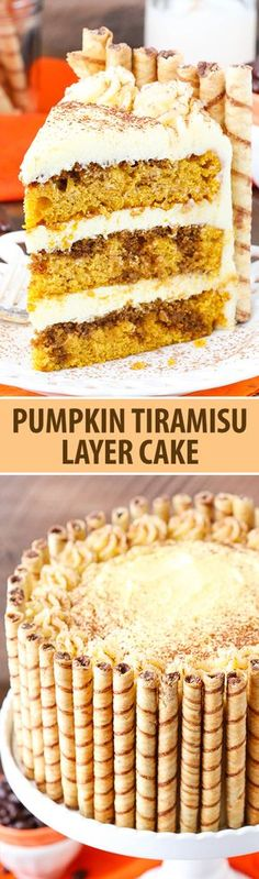 Pumpkin Tiramisu Layer Cake - pumpkin cake, kahlua and espresso, tiramisu filling and mascarpone frosting