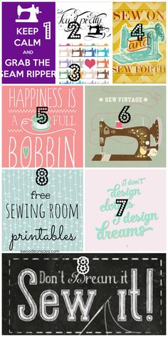 DIY Des imprimables sur la Couture gratuits. (8 Free Sewing Room Printables for Wall Decor - Swoodson Says) (http://swoodsonsays.com/8-free-sewing-room-printables-wall-decor/)
