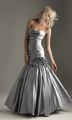 Strapless Silver Mermaid Gown by Night Moves 6262 at PromGirl.com