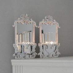 CAN018 Aged White Metal Mirrored Wall Sconce