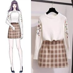 Perfect Clothing Colour Combinations For 2020 Korea Fashion, Asian Fashion, Look Fashion, Girl Fashion, Fashion Dresses, Fashion Design Drawings, Fashion Sketches, Kpop Outfits, Korean Outfits