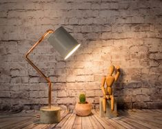 Modern desk lamps, Grey lamp shade, Copper pipe desk lamp, Concrete Industrial desk lamp, Concrete lighting, Original Gifts, Gifts for men