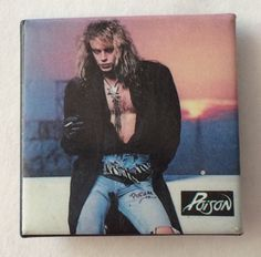 Vintage 80s POISON pinback button pin badge Bret Michaels hard rock band square