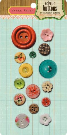 Emma's Shoppe eclectic buttons from Crate Paper.  Package includes 14 flea market buttons.  Sold on Etsy.