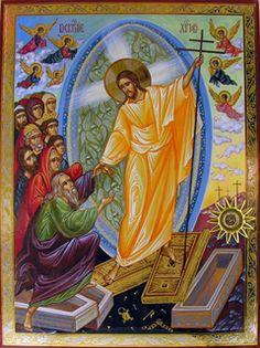 Orthodox icon of the Resurrection of Christ Religious Images, Religious Icons, Religious Art, Byzantine Icons, Byzantine Art, Greek Icons, Holy Saturday, Christ Is Risen, Jesus Christus