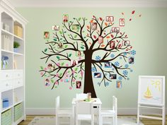 Tree Wall Decal - Four Seasons Birthday Calendar for Kindergarten Wall decal tree – creative idea for little pretty faces! The sparrow group of the Protestant kind 21st Birthday Decorations, Tree Decorations, Birthday Calendar, Tree Wall, Four Seasons, Kids Playing, Wall Decals, Wall Stickers, Vinyl Decals