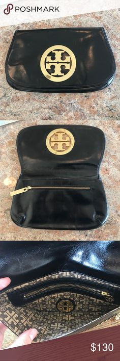 """Tory Butch Black Leather Clutch VEUC. Glossy black leather with gold metal logo. 6.75""""H x 11.5""""W. Tory Burch Bags Clutches & Wristlets"""
