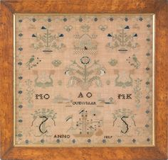 Lot: 422: Continental silk and linen sampler dated 1839, , Lot Number: 0422, Starting Bid: $250, Auctioneer: Pook & Pook, Inc., Auction: Antiques and Fine Art at Pook's - Session 2, Date: January 15th, 2011 EST