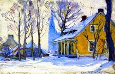The Athenaeum - Canadian Village, Grey Day, Gagnon. - Clarence Gagnon November 1881 – 5 January was a Canadian painter from the province of Quebec. Canadian Painters, Canadian Artists, Clarence Gagnon, Winter Painting, Art Van, Art Prints For Sale, Objet D'art, Winter Landscape, Quebec