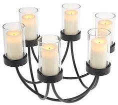 CandleImpressio Basket Weave Centerpiece w/ 6 Votive Candles & Timer