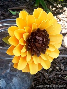Paper Flowers - Weddings - Birthdays - Special Events - Stemmed Sunflowers  - Set of 24 - Made To Order