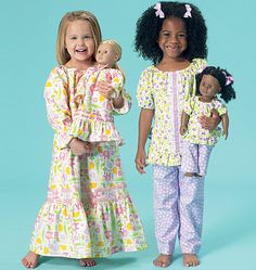 Matching girls' and 18-inch doll pajama  and nightgown sewing pattern from Kwik Sew. K0213