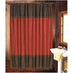 Cheyenne+Faux+Tooled+Leather+and+Fringe+Shower+Curtain+Red
