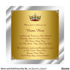 Silver and Gold Prince Bar Mitzvah 5.25x5.25 Square Paper Invitation Card