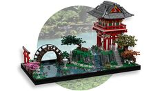 Coosey__Goosey submitted a beautiful Japanese tea garden to LEGO Ideas. The model includes a pagoda, arched bridge, pond, and vegetation, creating a very relaxing atmosphere. Lego Display, Lego Design, Japan Garden, Japanese Garden Design, Japanese House, Lego Castle, Lego Architecture, Asian Architecture, Lego Worlds
