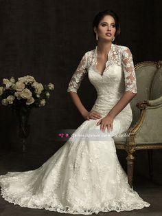 Custom Classic vintage Lace Long Sleeve White/Ivory Wedding Dress Bridal Gown $178.00