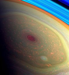 Stunning views of a monster hurricane at Saturn's North Pole. image from NASA's Cassini mission