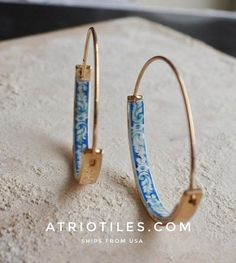 Portugal Antique Azulejo Tile HOOP Earrings University of Evora - Hidden Treasure - Delicate 1 1/2"