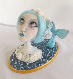 Ooak Art Doll bust mermaid Lorelei-Handmade