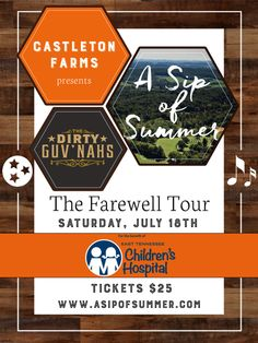 The Dirty Guv'nahs are beginning their farewell tour with a concert at Castleton Farms and a portion of ticket proceeds will benefit East Tennessee Children's Hospital. Tickets are limited to 1500, so don't miss out and get yours now: